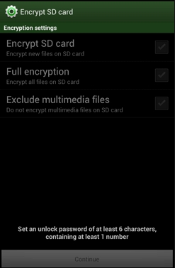 Android Encrypt SD card security